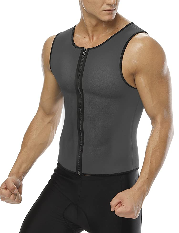 FeelinGirl Men Shapewear Slimming Tank Top Sweat Waist Trainer Vest Weight Loss Body Shaper