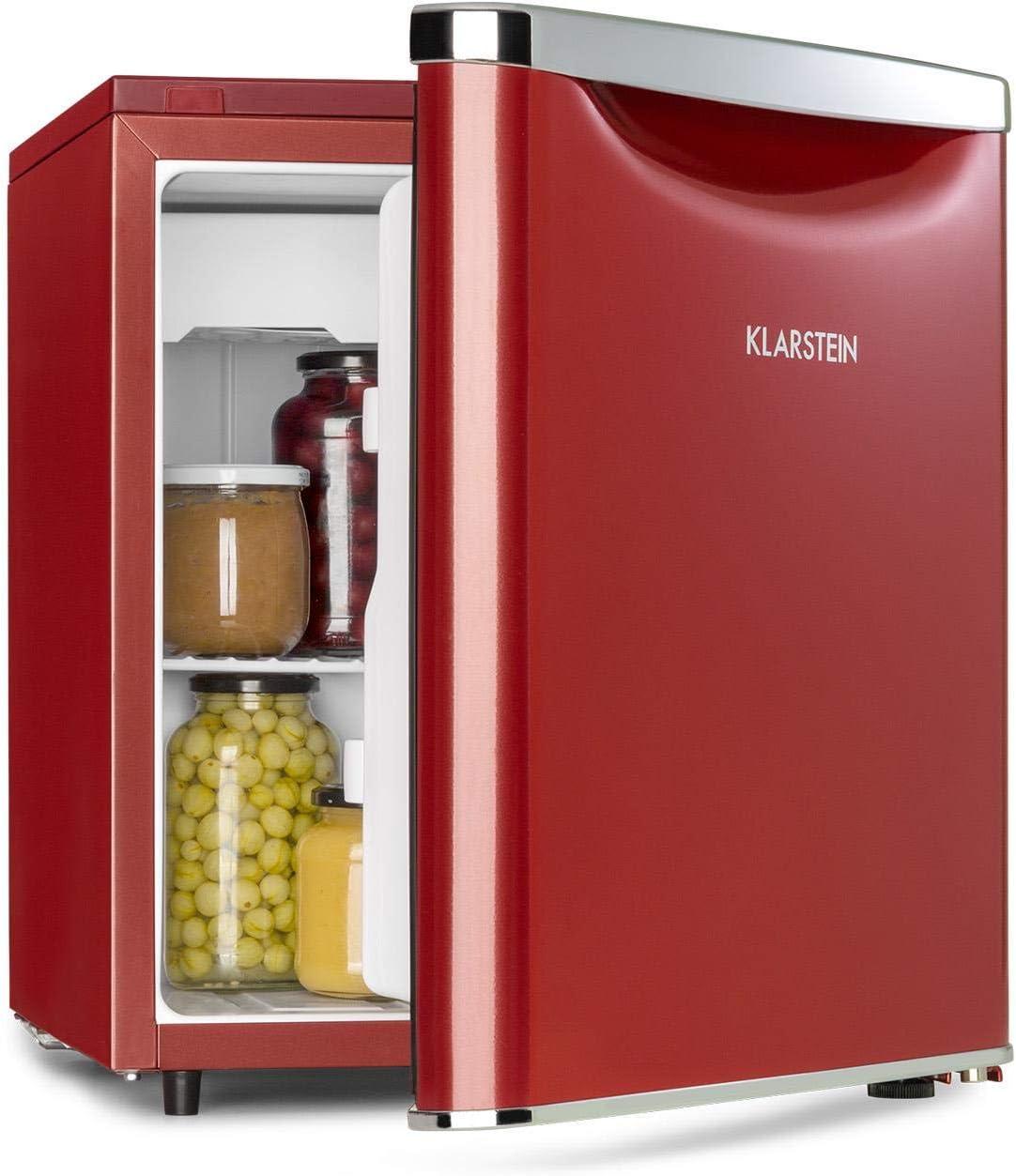 Klarstein Yummy - Nevera, Descongelación semi-automática, EEC F, Nivel ruido 41 dB, Congelador hasta -3 °C, Revestimiento cromado, 45 x 51,5 x 48 cm, Capacidad de 47 Litros, Rojo
