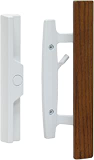 "Lanai Sliding Glass Door Handle Set with Oak Wood Pull in White Finish, Standard 3-15/16"" CTC Screw Holes, 1-1/2"