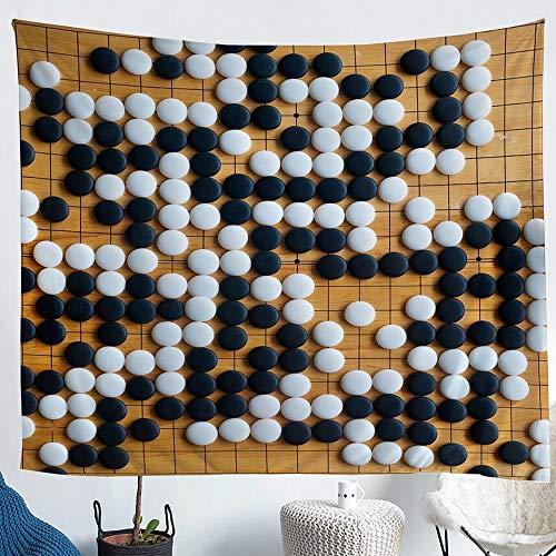 richhome Black and White Chess Tapisserie Wandbehang Encircle Chess Tapisserie Wandbehang Game Sport Tapisserie Wandbehang Tuch Wandtuch Dekoration für Schlafzimmer Wohnzimmer Wandteppich 148x200cm