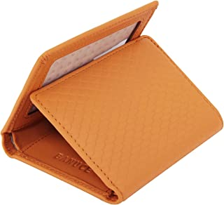 Colored Top Grain Leather Trifold Wallet for Women Small Slim Clutch Purse Card Holder with ID Window