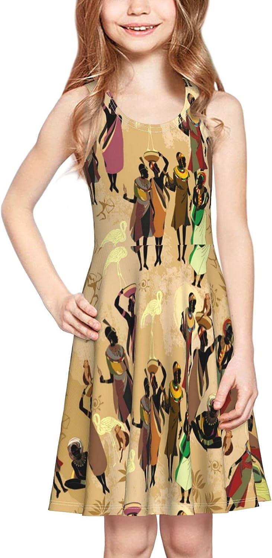 Girls Tank Dress African Women South Africa Tribal Art Summer Sleeveless Dresses Print Swing Skirt Casual Party Sundress for Kids 2-6 Years Skater Dresses