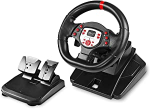 DOYO 180 Degree Motor Vibration Driving Sport Gaming Racing Wheel with Responsive Gear and Pedals Plug and Play for PS4/PS3/SWITCH/PC/TV BOX