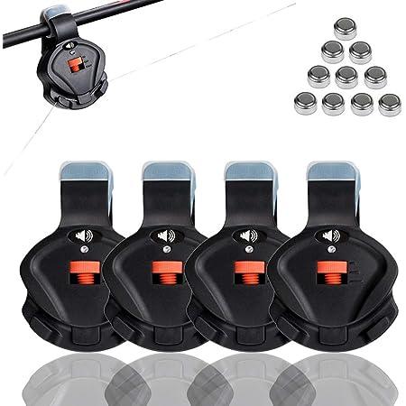 Cooltto 4 pcs Alarma de Pesca Electronico Alerta de Picadura de Pesca Sensible con Luz LED & Interruptor de Sensibilidad y Volumen de Sonido para pescar al aire libre y principiantes en la pesca-Negro