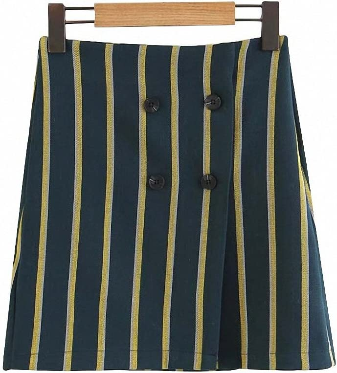 Womens Vintage Striped Mini A-Line Skirt Faldas Mujer Double Buttons Retro Ladies Casual Wear Chic Skirts