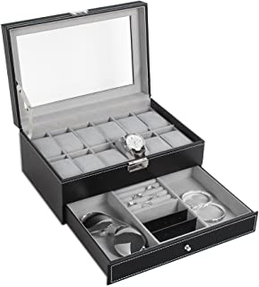 6 slot leather watch box