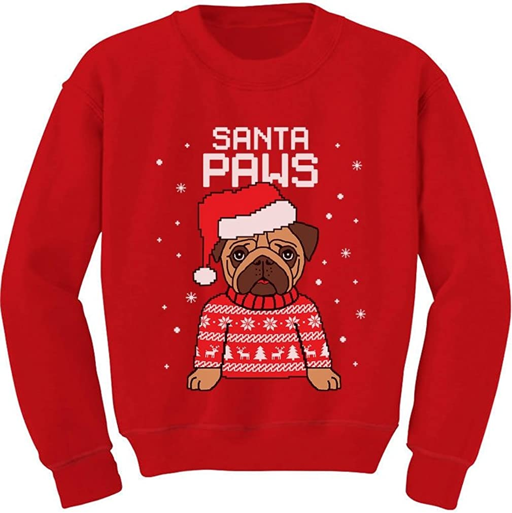 Santa Paws Pug Ugly Christmas Sweater Dog Toddler/Kids Sweatshirts
