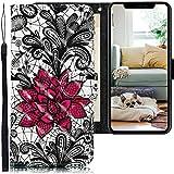 CLM-Tech Funda Compatible con Apple iPhone 11 Pro MAX (6,5 Pulgadas), Carcasa Cuero sintético con Soporte y Ranuras para Tarjetas, Flores de Encaje Negro Blanco Rojo