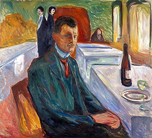 The Museum Outlet - Munch - Zelfportret met fles wijn - Poster Print Online kopen (40 X 50 Inch)