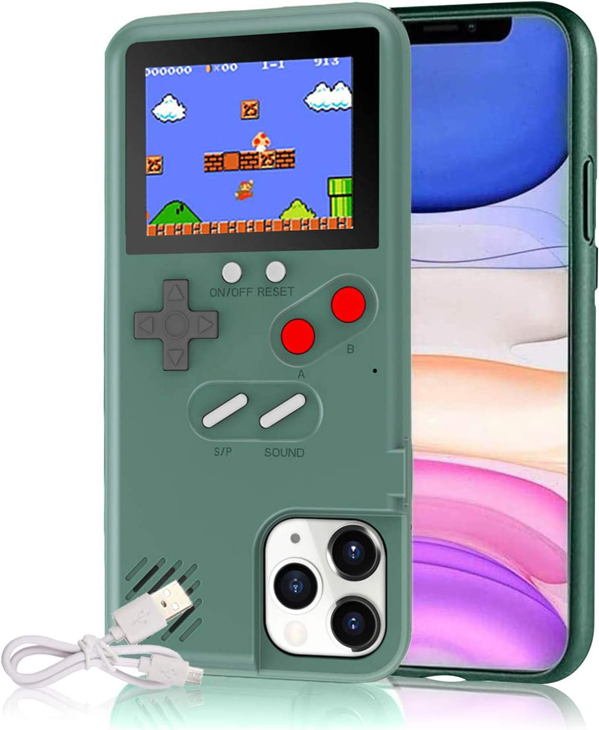 Gameboy Case for iPhone, Autbye Retro 3D Phone Case Game Console with 36 Classic Game, Color Display Shockproof Video Game Phone Case for iPhone (for ...