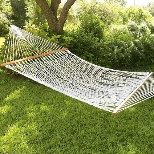 Inditradition Rope Hammock with Wooden Spreader Bars   for Single Person, 30 Inches Width (White)