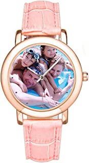 Personalized Family Faces Photo Watch Custom Pink Leather Strap Wrist Watches for Women/Mother/Wife