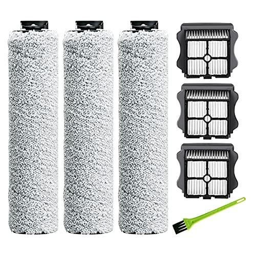 DrRobor Cepillo de Rodillo Filtro HEPA para Tineco Floor One S3, iFloor 3 Mopa Aspiradora Para Suelos Húmedos y Secos (3 Rodillo + 3 HEPA Filtro + 1 Cepillo )