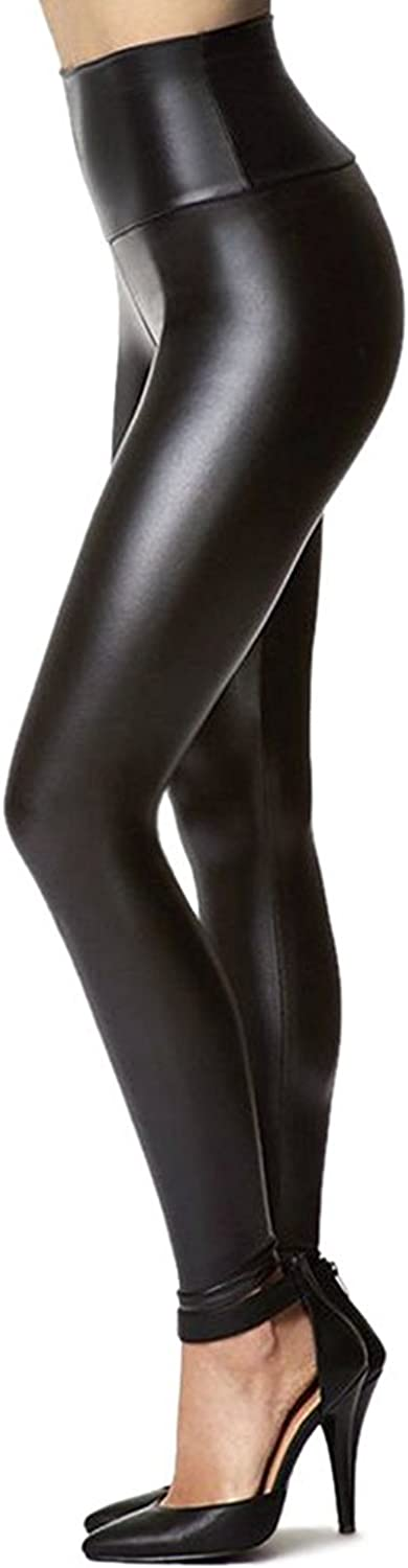 Tagoo Women's Stretchy Faux Leather Leggings Pants, Sexy Black High Waisted Tights