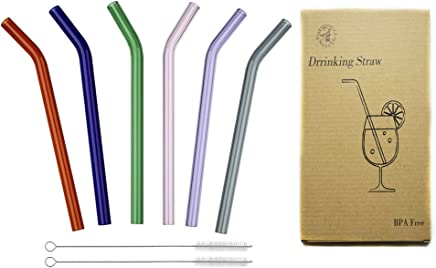 """Reusable Long Bent Glass Drinking Straws, 8"""" * 8mm Set of 6 with 2 Cleaning Brushes, Multi Color for Smoothies, Milkshake, Tea, Juice, Water, Essential Oils BigNoseDeer (6 Color)"""