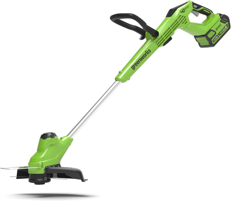 Greenworks cortacésped inalámbrica G40T5 (Li-Ion 40V 30cm ancho de corte 1.65mm hilo/cuchillo Cabezal de corte rotativo Flowerguard sin batería ni cargador)