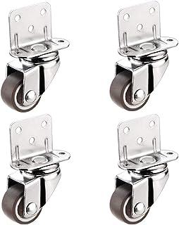 4 stuks meubelwielen van multiplex in L-vorm, draaibaar, remschijven, loopwiel van rubber, stil, 1 inch (2,5 cm), voor aut...