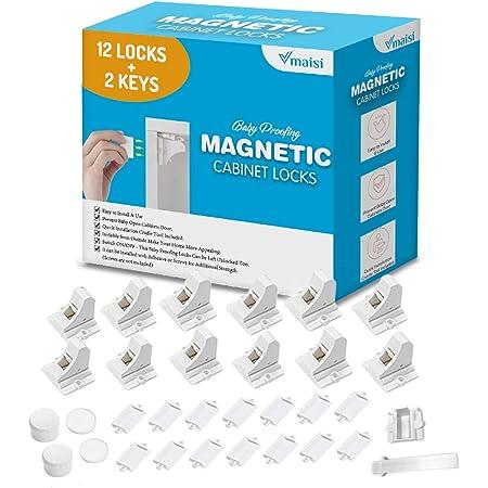 12 Locks + 2 Keys Magnetic Cabinet Locks Bundle with 48 pcs Screws