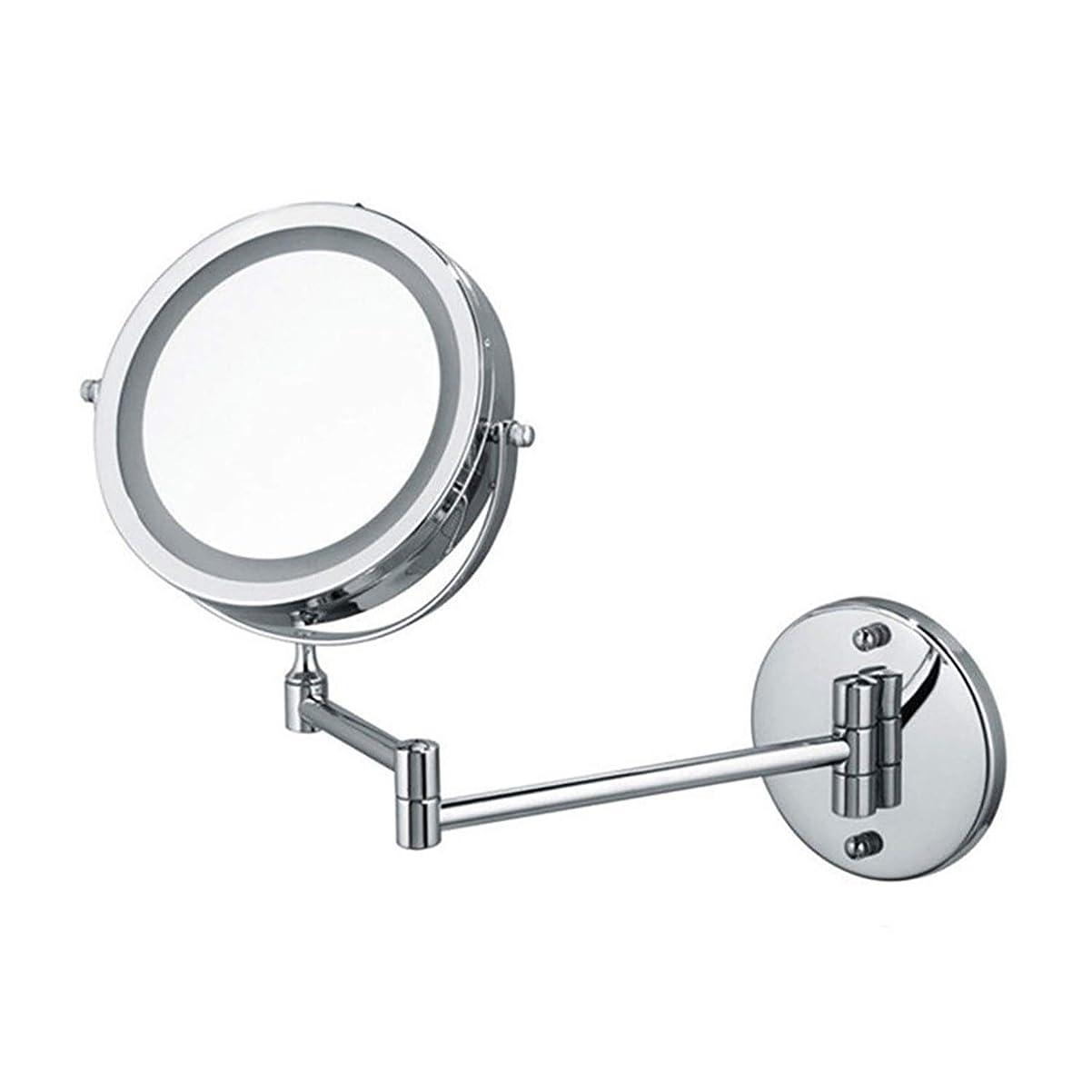 ホステル異なる抑圧する壁掛けメイクアップミラー 壁に取り付けられた7インチ照明付き化粧鏡5X拡大高級ラグジュアリーLED化粧鏡 (Color : Silver, Size : 7 inches 5X)