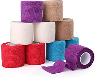 Cohesive Bandage, Self Adherent Wrap, 2 Inches x 5 Yards, 10 Rolls, First Aid Tape, Elastic Self Adhesive Tape, Medical Supplies, Assorted Colors