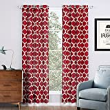 Jaoul Linen Textured Semi Sheer Curtains for Living Room Bedroom Geometric Moroccan Lattice Print Grommet Voile Drapes, 52 x 95 Inch, 1 Panel (Red)