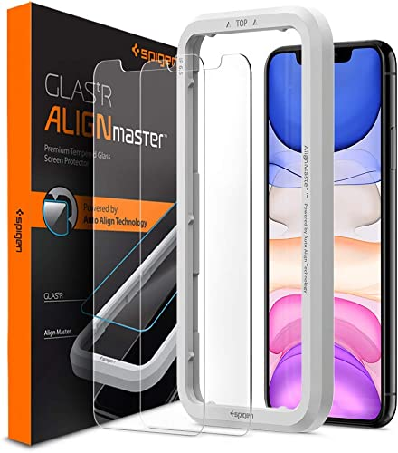 Spigen Iphone 11 XR Tempered Glass Alignmaster Auto Align Technology Case Friendly Face ID Compatible Transparent 6 1 2 Packs