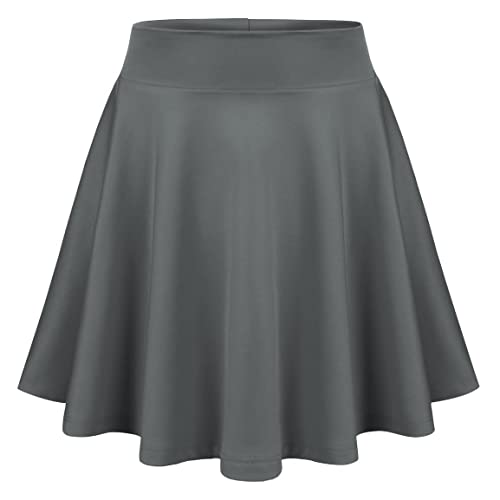17a4e07e81fa MIRITY Womens Skater Skirts Basic Versatile Stretchy Pleated Flared Short  Skirt Color Grey Size S