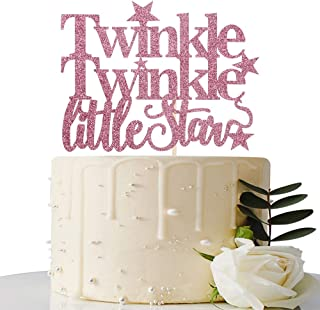 Pink Glitter Twinkle Twinkle Little Stars Cake Topper - for Baby Shower/Gender Reveal / 1st Birthday Party Decorations