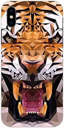 MADANYU iPhone X Cover - Tiger Poly Art Wild for Animal Lovers Designer Printed Slim Back Case Cover for iPhone X