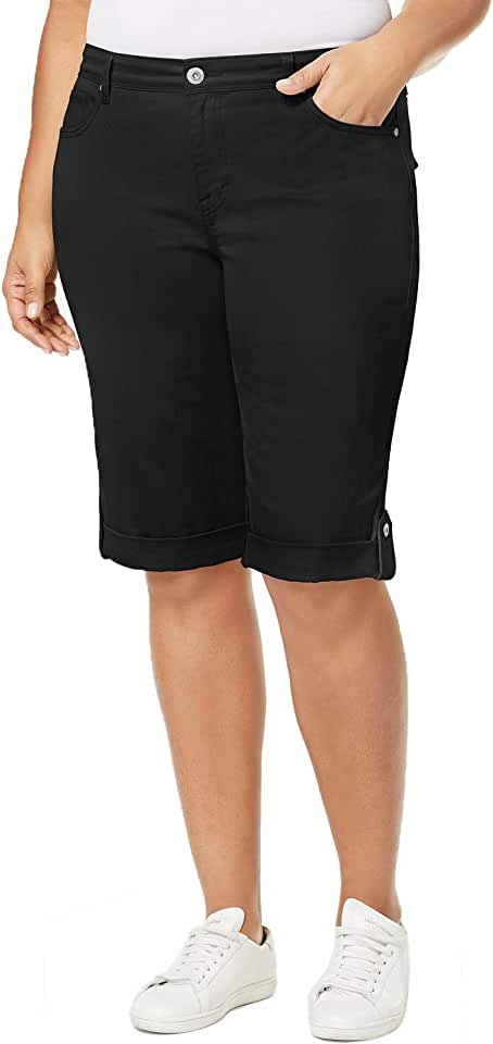 Style & Co. Womens Plus Mid-Rise Slim Fit Skimmers Black 24W