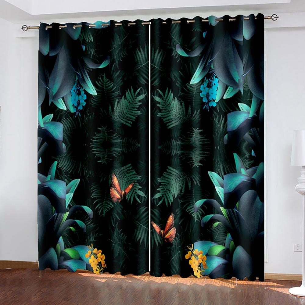 Blackout Curtain for Bedroom Forest Insulat Spring new work one after another Superior Thermal Green Leaves