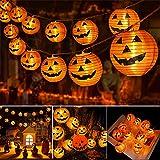 Qedertek Decoracion Halloween, 4M 20 LED Naranja Calabaza Guirnalda Luces Farolillos Exterior, 2 Modos Impermeable Lámpara de Jack-O'-Lantern Halloween de Niños para Interior y Exterior Fiesta Garden