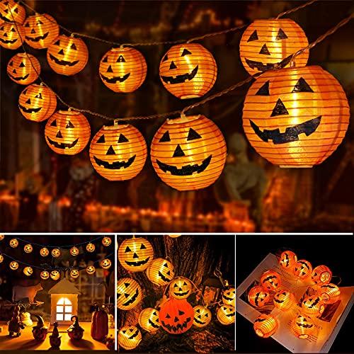Qedertek Decoracion Halloween, 4M 20 LED Naranja Calabaza Guirnalda Luces Farolillos...