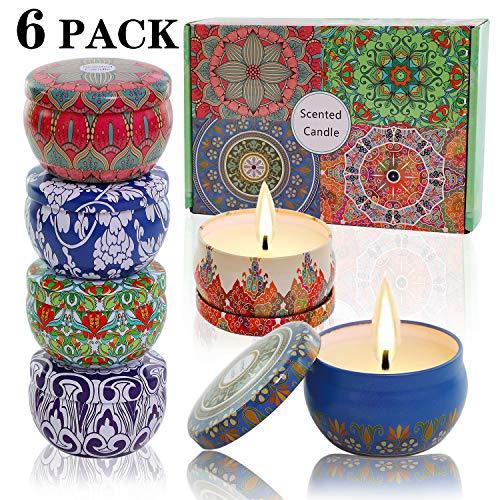 Scented Candles Soy Wax 6-Pack Gift Package Vanilla Lavender Rose orange lemon Amber musk Natural...