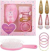 PinkSheep Kids Unicorn Hair Set, Girl Unicorn Hair Brush,Unicorn Elastic Hair Ties , and Hair Clips, 9PC