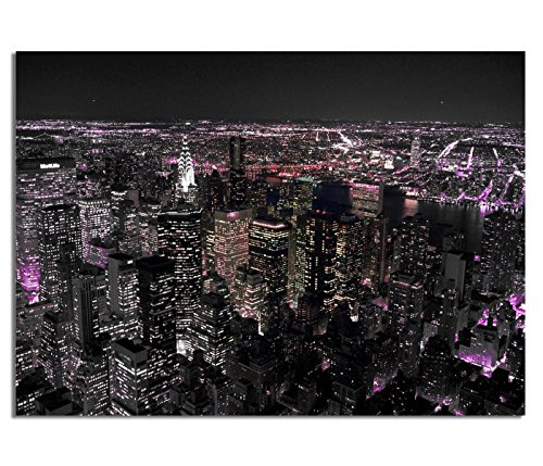 KD Dsign+ Echtes Glasbild AG5705000414 DEKO 70 x 50 cm Manhattan by Night II / 4mm Starkes behandeltes Sicherheitsglas mit Abstandshalter für TOLLE TIEFENWIRKUNG/WANDBILD inkl. montiertem Aufhänger