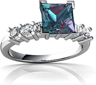 14kt Gold Lab Alexandrite and Diamond 6mm Square Engagement Ring