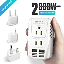 2019 Upgraded 2000W Voltage Converter with 2 USB Ports,Set Down 220V to 110V Power Converter for Hair Dryer/Straightener/Curling Iron, Travel Transformer for UK/AU/US/EU Plug Travel Adapter
