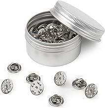 50PCS Metal Locking Pin Backs, Pin Keepers Locking Clasp, Badge Insignia Pin Backs Replacement (Silver)