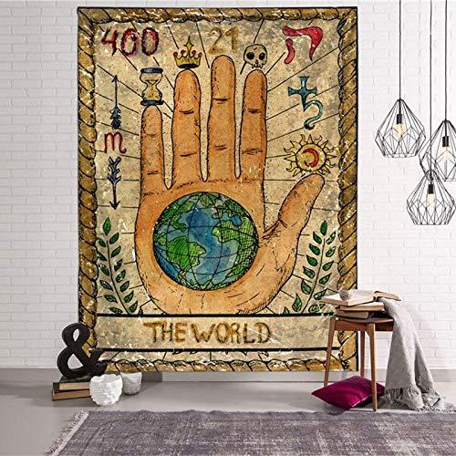 KHKJ Tapices Colgantes de Tarot Sun Star Moon Tapiz Hippie Manta Colgante de Pared Alfombra de Pared Estera de Yoga Decoración del hogar A13 95x73cm