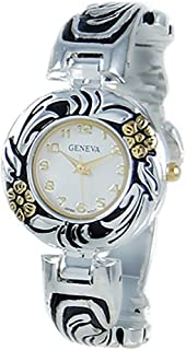 Rosemarie Collections Women's Concho Flower Bangle Cuff Watch
