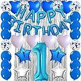 Ceqiny Juego de globos cumpleaños para primer decoración de niño número 1 globos cumpleaños cortina de flecos papel estrella globos de látex lámina corazón suministros fiesta para niño y baby shower
