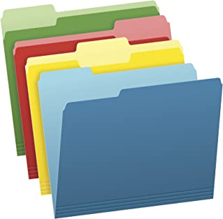 Pendaflex Two-Tone Color File Folders, Letter Size, Assorted Colors (Bright Green, Yellow, Red, Blue), 1/3-Cut Tabs, Assor...