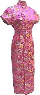 فستان صيني طويل من 7Fairy Women's Sexy Rose Red عشرة أزرار