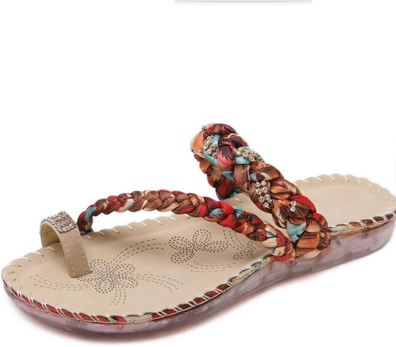 Women's Slippers Women's Summer Fashion Bohemian Rhinestones Clip Toe shoes Large Size Sandals Sandals Women's shoes Feet Pants XIAOQI