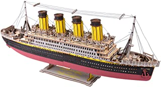 Large Size Titanic Model 3D Wooden Puzzles Cruise Ship Collectible Building DIY Assembly Constructor Kit Collection Gift for Teens and Adults (A3 Titanic)