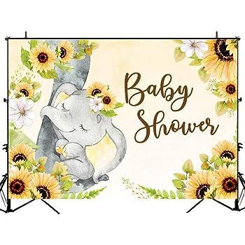 Yellow Elephant Baby Shower Decorations  from m.media-amazon.com