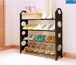 LookNSnap Multipurpose Foldable Shoe Rack Cabinet Organiser 4 Shelves, Black (Iron and Plastic)