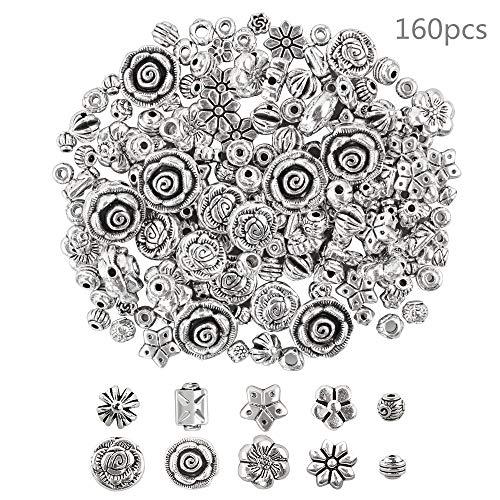 160 Stück Spacer Perlen Silber Zwischenperlen für Armbänder Schmuckherstellung Bastelperlen DIY Metallperlen Schmuckzubehör