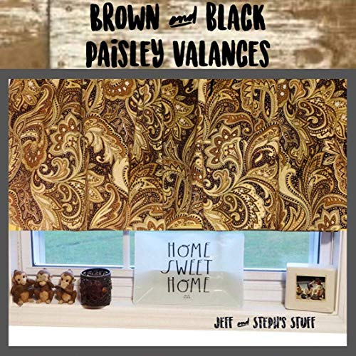 Brown Paisley, Curtain Valance, Sale, Window Treatment, 43 W x 15, Home Decor, Paisley Style, Bedroom, Living Room, Wedding Gift